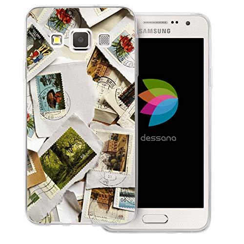 dessana Briefmarken transparente Schutzhülle Handy Case Cover Tasche für Samsung Galaxy A3 (2014-2015) Briefmarken Post