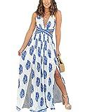 YIYIN Mujer Vestido de Playa Largo Verano Casual Bohemio Florales de sin Mangas Cuello en V Talla Split Wrap Maxi Vestidos Blanco S