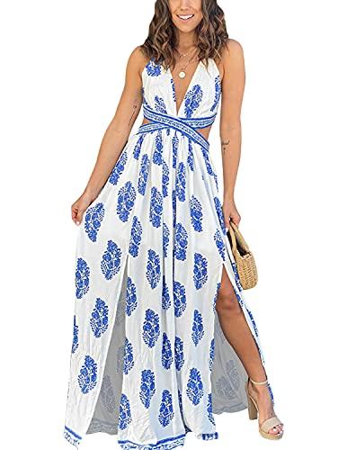 YIYIN Vestiti da Cerimonia Sera Lunghi Eleganti a Schiena Nuda Abito Senza Maniche Estivo Casual Boho Spiaggia Floreale Dress Bianco S