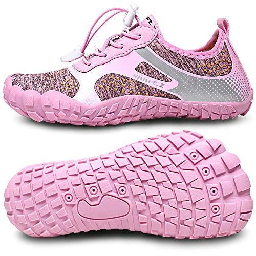 JIASUQI Jungen Mädchen Sportlich Strand Gehen Turnschuhe Wasserhautschuhe Pannensicher Punkt Pink, 33 EU