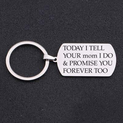 MEIHEK 1 Stück Schlüsselbund Graviert Heute sage ich deiner Mutter, ich verspreche es dir auch Immer Schritt Kind Hochzeitsgeschenk Schlüsseldekor Silber