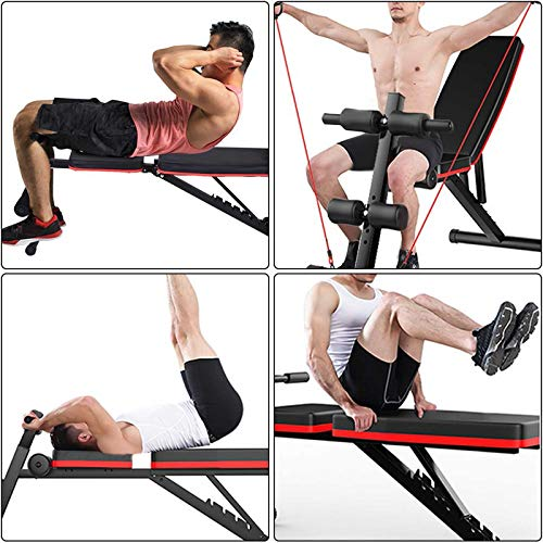 XCXC Multi-Functional Bench Adjustable Folding Weight Bench (2020 Upgraded Version), for Full All-in-One Body Workout – Hyper Back Extension, Roman Chair, Adjustable Ab Sit up Bench, Decline Bench, Flat Bench Withstand weight of 600 lbs (Black), 51x41x11in