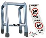 alles-meine.de GmbH 2 TLG. Set: __ Gehhilfe - ( Aufblasbar ) incl. Name + Toilettenpapier Rolle -  50. Geburtstag / fünfzig und Sexy - Happy Birthday  - lustiger Partyartikel -..