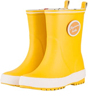 JOYCORN Kids Rain Boots for Toddlers, Boys, Girls - Natural Rubber Waterproof Cute Colourful Shoes with Reflective Stripes for Children