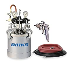 """Price For: Each Max. Pressure: 80 psi Material: Zinc Plated Steel Air Line Connector: 1/4"""" NPS Capacity: 2.8 gal. Paint Line Connector: 3/8"""" NPS(F) Includes: Spray Gun, 25 ft. each of Fluid and Air Hose Assemblies and 15 ft. Air Compressor Hose Item:..."""