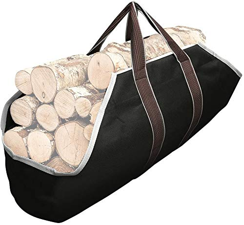 Amagabeli Large Canvas Firewood Carrier Log Tote Bag Indoor Fireplace Log Carrier Holders Woodpile Rack Fire Wood Carrying Outdoor Tubular Birchwood Stand by Hearth Stove Tools Set Basket Black