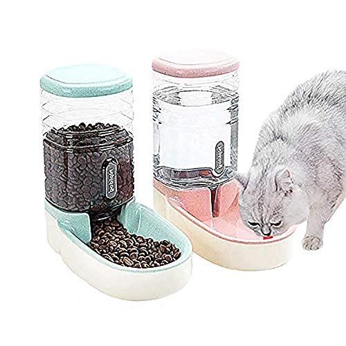Cxssxling Futterspender Katze, Automatischer Futter und Wasserspender für Katzen und Hunde 3.8 L with 1* Water Dispenser and 1 * Pet Automatic Feeder