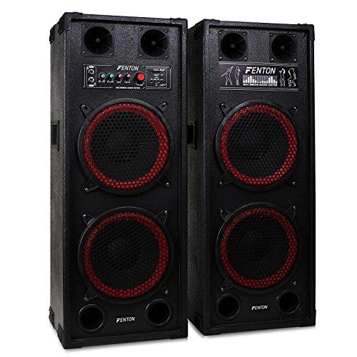 """Fenton SPB-210 - PA-Aktiv-Lautsprecher, 1200 Watt max, je 2 x 10\""""-Woofer und 2 Piezo-Hochtöner, Bluetooth, USB- und SD/MMC, Tragegriffe, Schutzecken und Boxengitter aus Metall, schwarz-rot"""