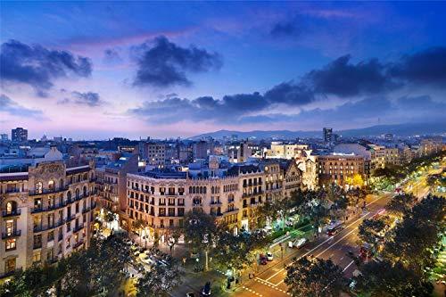 1000 Piezas Juguetes Para Niños Rompecabezas Para Adultos Barcelona Noche Casa Calle De Madera Montaje Personalizado