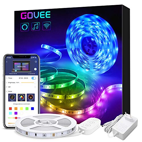 Smart Striscia LED Alexa 5M, Govee Strisce LED Intelligente WiFi 5050 RGB SMD Compatibile con Alexa e Google Home, Strip LED App Controllato Musica, Multicolore per Giardino, Bar, Festa,12V 1.5A