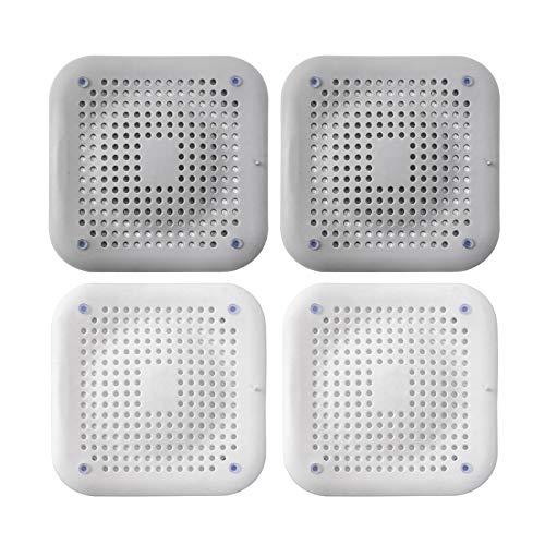 Protección de desagüe de silicona de 4 piezas con ventosa, mampara de desagüe para ducha, bañera, tapa de desagüe para cocina, baño para baño de cocina (blanco gris)