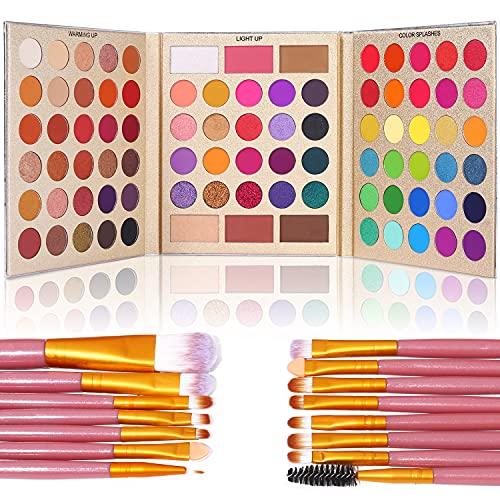 UCANBE Pro Eyeshadow Palette + 15 Pcs Makeup Brush Set,Pigmented Makeup Pallet with Brushes, Matte Shimmer 86 Colors Gift Set,Eye Shadow Highlighters Contour Blush Powder Cosmetic Kit