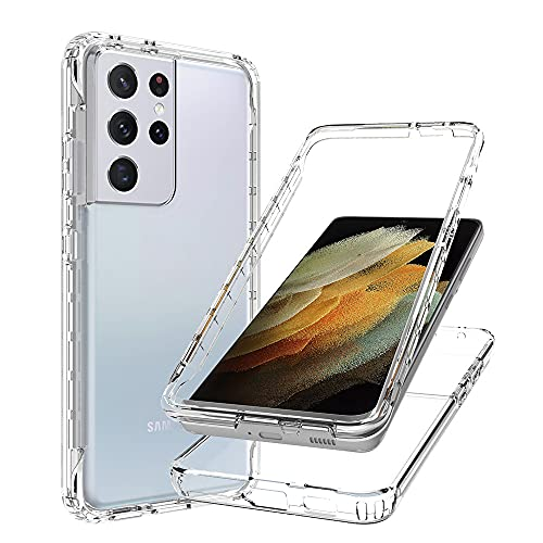 Blllue Custodia for Per Samsung S21 Ultra 5G, Slim Fit Transparent Drop Proof Hard Clear Protective with Thin Hard PC and Flexible TPU Frame for Per Samsung S21 Ultra 4G, Clear