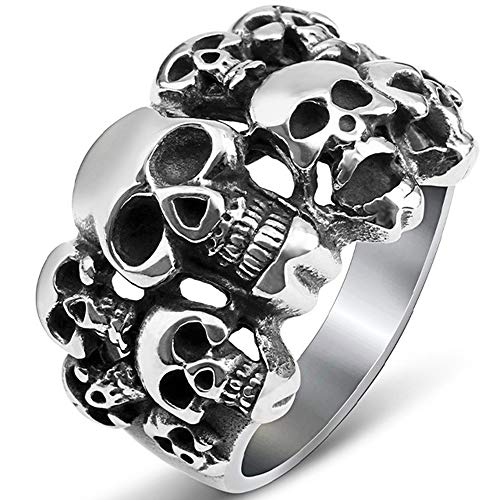 Stainless Steel Gothic Skull Vintage Antique Style Biker Cocktail Party Ring (Silver, 9)