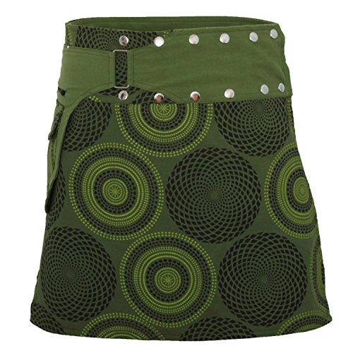 PUREWONDER Donna Minigonna a Portafoglio Cotone S172 Verde Taglia...