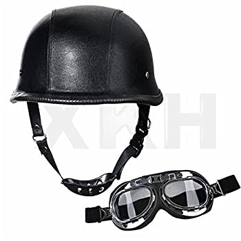 XKH- DOT German Black Leather Motorcycle Half Face Helmet Biker Pilot Goggles XL [B07FN94SB5]