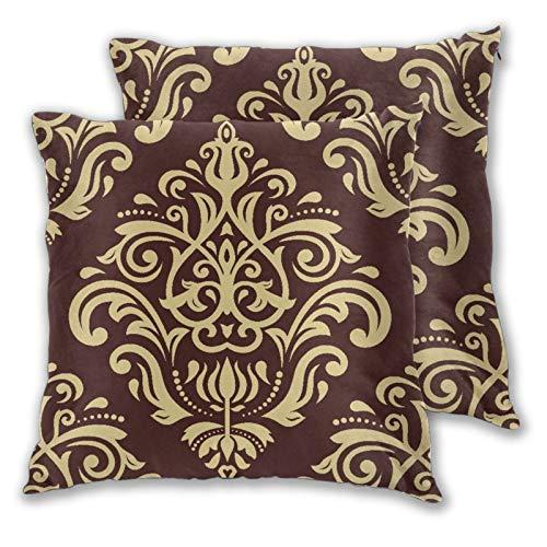 VINISATH Motivo Floreale Barocco Damascato Oro e Nero Tessuto Vintage Rosso Fodera Copertura Cuscino 2 Set Copri Cuscino 60x60cm con Chiusura a Cerniera Nascosta