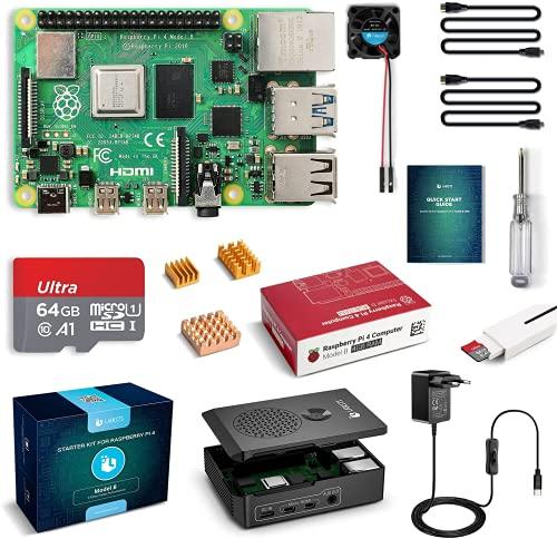 Raspberry Pi 4 4GB con Tarjeta SD de 64GB Precargada con Raspberry Pi OS, Cable 5V 3A con ON/Off, 2 Micro HDMI, 3 Disipador de Calor, Ventilador, Caja Negra y Lector de Tarjetas