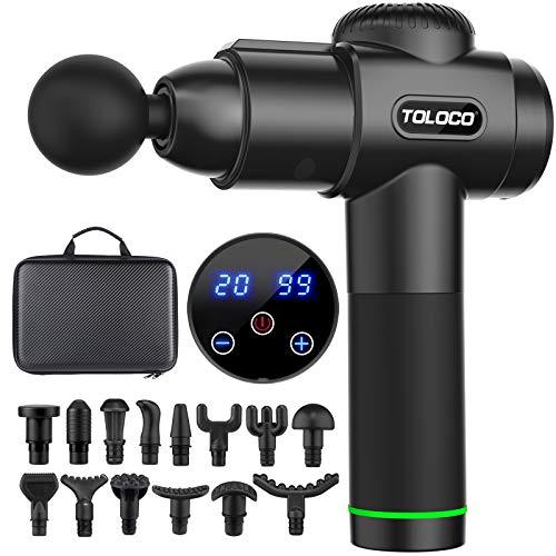TOLOCO Massage Gun, Upgrade Percussion Muscle Massage Gun for Athletes, Handheld Deep Tissue Massager, Black