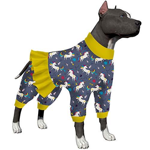 LovinPet Dog Unicorn Pajamas Post Surgery Wear/Colored Unicorn Rocket Printing Grey Prints/Full Coverage Dog Pjslightweight Big Dogs Pullover, Large Breed Dog Pjs