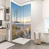 Schulte Duschrückwand Set über Eck, Sonnenuntergang Düne, 2 x 90x210 cm, Wandverkleidung aus 3 mm Aluminium-Verbundplatte als fugenloser Fliesenersatz
