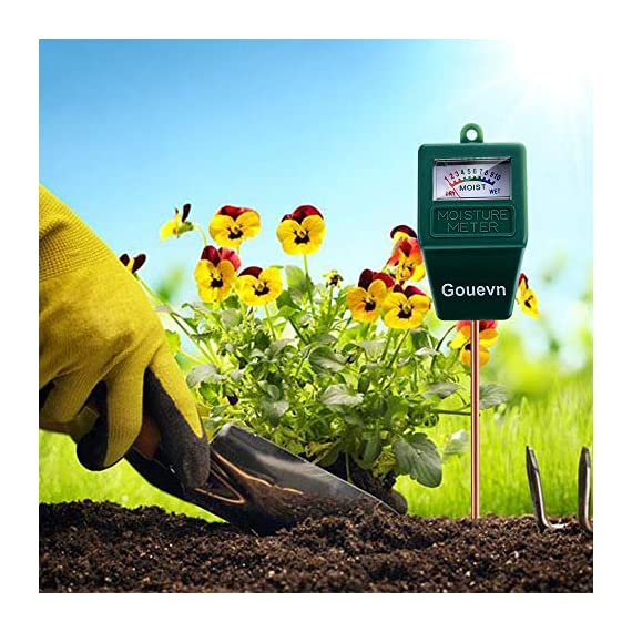 """Gouevn Soil Moisture Meter, Plant Moisture Meter Indoor & Outdoor, Hygrometer Moisture Sensor Soil Test Kit Plant Water… 5 🌼 SIMPLE and EFFECTIVE: Gouevn Soil moisture meter only for testing soil moisture, basic model works stably. Plug and read, responds quickly and provides easily readout. Large dial, ten scales. Includes watering guide for 200 plants printed on the back of the packaging. 🌼 INDOOR & OUTDOOR USE: A super helpful tool for your garden, Yard, lawn, Farm, potted plants etc. Especially is important for some delicate plants which are very sensitive to over or under watering. 🌼 LONG PROBE SENSOR: 7.7"""" probe length specifically designed for measure water at the root level, For use on any plant, even it is big potted plants."""