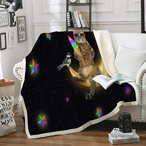 Manta de Gato Manta de Tiro de Media Luna Mantas y Mantas de Animales Lindos para niños y Adolescentes Manta de Sherpa Negra Manta de Felpa Suave y acogedora para Cama, sofá, Sala de Estar (Gato, DOB