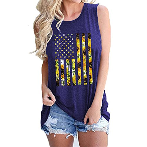 Mayntop Camiseta sin mangas para mujer, con diseño de bandera de Estados Unidos, 4 de julio, camiseta con cuello en O, C-azul, 38