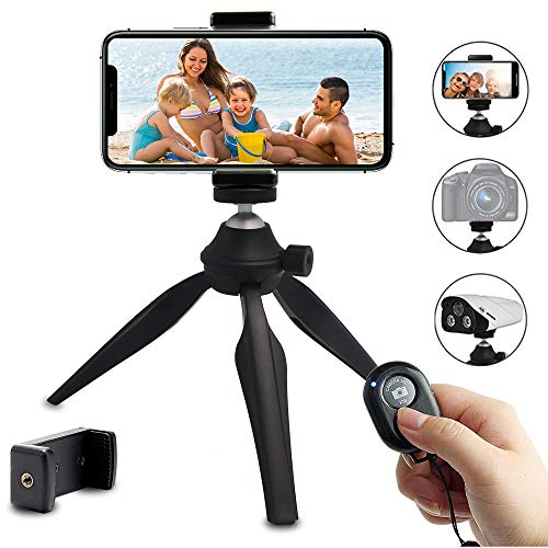 Mini Phone Tripod, LINKCOOL Lightweight Tabletop Tripod for IPhone Samsung Cellphone Camera DSLR Gopro with 360 Rotating Metal Ball Head & Universal Phone Mount Holder & Wirless Remote Control - Black