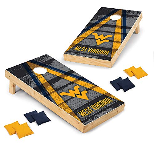 Wild Sports 2' x 4' Wood Tournament Cornhole Set - Direct Printed - West Virginia Mountaineers- perfect for Backyard, Beach, Park, Tailgates, Outdoors and Indoors