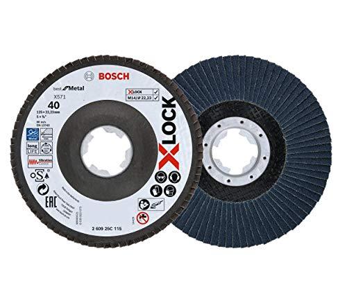 Bosch Professional 260925C115 Disco de láminas X-LOCK, diámetro 125 mm, grano K40, diámetro de orificio diámetro 22,23 mm, acodado, accesorio de amoladora angular, Na, 40