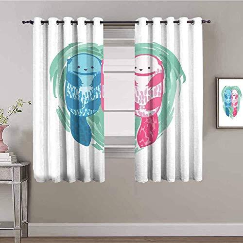 Nileco Cortinas de Opacas - Azul rosa lindo animal - 264x210 cm - 3D Impresión Digital con Ojales Aislamiento Térmico - para Sala Cuarto Comedor Salon Cocina Habitación