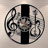 Clef Agudo Nota Musical Pared Arte Reloj de Pared Instrumento Musical violín Llave Vinilo Registro Reloj de Pared música clásica decoración del hogar Regalo