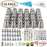 ANSLYQA Russian Piping Tips Set (116 Pack) with 54 Numbered Tips (30 Russian & 24 Icing), 1 Ball...