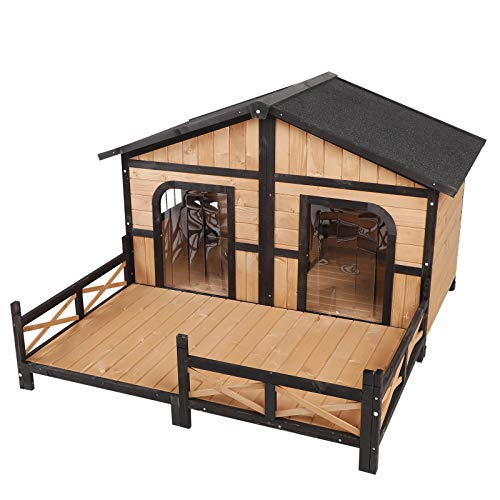 """PawHut 59""""x64""""x39"""" Wood Large Dog House Cabin Style Elevated Pet Shelter w/Porch Deck Natural"""