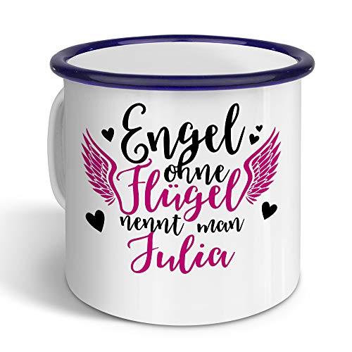 printplanet - Emaille-Tasse mit Namen Julia - Metallbecher mit Design Engel - Nostalgie-Becher, Camping-Tasse, Blechtasse, Farbe Blau, 400ml
