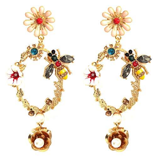 Oreille Bijoux Cadeau Femme Drop Oil Flowers Diamond-Encrusted Bee Earrings Baroque Geometric Hollow Earrings