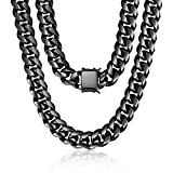 ROWIN&CO Mens Chain Black Heavy Big 316L Stainless Steel Miami Cuban Link Necklace Hip hop Jewelry Choker Chain, 15mm Width/ 18 20 22 24 26 30 35 inch Lengths, (with Gift Box)