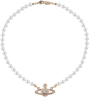 White Pearl Bead Necklaces Crystal Rhinestone Saturn Planet Necklace