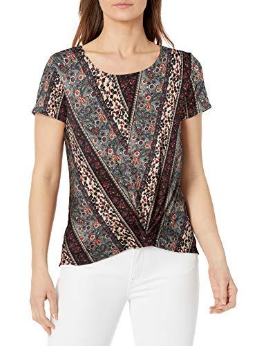 Star Vixen Women's Plus Size Short Sleeve, Sage Black Wallpaper, 2X