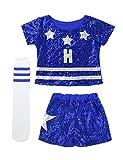 iiniim 3Pcs Uniforme Scolaires Enfant Fille Déguisement Pom-Pom Girls Costume Danse Cheerleaders Jazz Hip-hop Performance Top Short Paillette Chaussettes Dancewear 4-14 Ans Bleu 5-6Ans