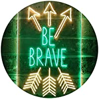 Be Brave Arrow Room Décor Dual Color LED看板 ネオンプレート サイン 標識 緑色 + 黄色 210 x 300mm st6s23-i3477-gy