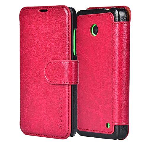 Mulbess Layered Dandy Handyhülle für Lumia 630 Hülle Leder, Lumia 630 Klapphülle, Lumia 630 Handytasche, Schutzhülle für Lumia 630 Tasche, Wein Rot