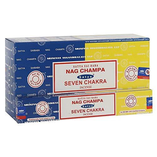 Satya 01333 Nag Champa & Seven Chakra Combo Set di bastoncini di incenso, 12 confezioni da 16 g, multi, taglia unica