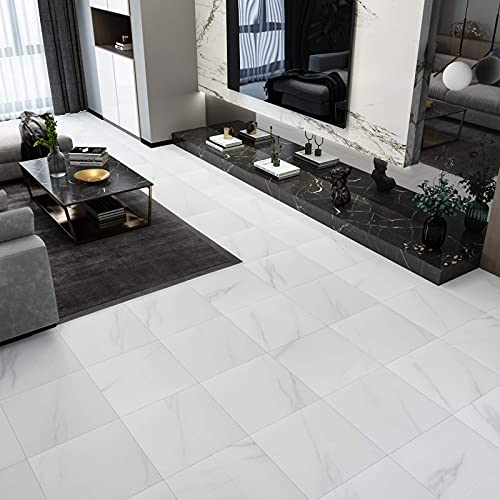 WESTICK 20 Pcs White Marble Peel and Stick Floor Tile Bedroom Living Room Ground Decoration Vinyl Flooring Peel and Stick Non-Slip Waterproof 12 x 12 Inches