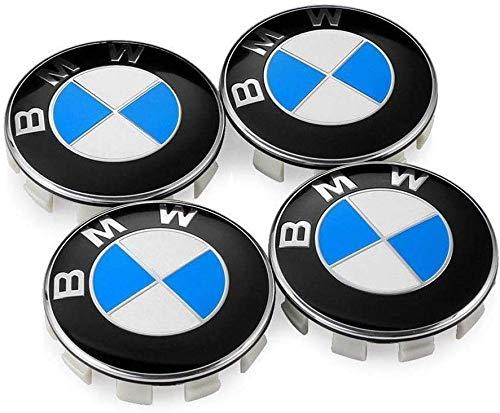 interestingcar 4 STÜCKE Radkappen Emblem Passend für BMW, 68 mm Emblem Logo Ersatz für alle Modelle BMWs Radkappen Farbe Blau Weiß