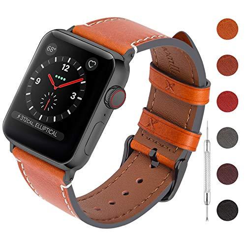 Fullmosa Correa para Apple Watch 40mm 44mm,Pulsera de Cuero Reemplazo de Iwatch Series 5/4,Correa de Reloj de Liberación Rápida para Hombre