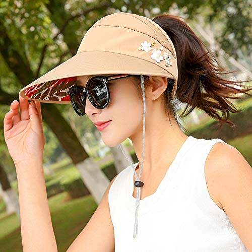 JXFM zonnescherm-zonwering vizier van het lege vrouwelijke zomer van de tophoed laat wild anti-uv-zomer kakikleurig