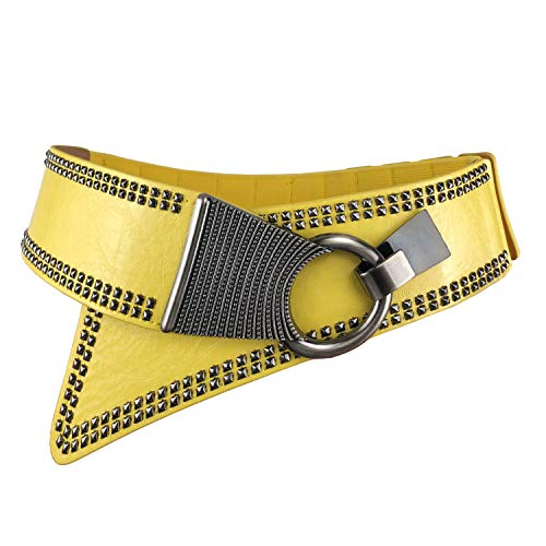 Women's Fashion Vintage Pink Wide Waist Belt Elastic Stretch Cinch Belts With Interlock Buckle, Yellow, Small