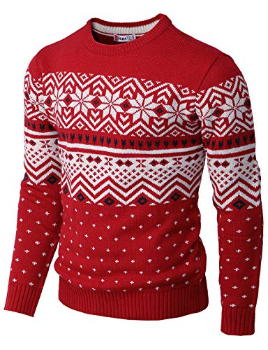 H2H Mens Casual Slim Fit Knitted Crew Neck Sweaters Thermal of Various Christmas Pattern RED US 2XL/Asia 3XL (CMOSWL052)